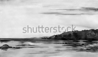 Obraz rzeka akwarela - ręcznie rysowane rzeki i niebo w mediach mieszanych