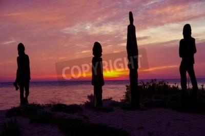 Obraz rzeźby z widokiem na zatokę