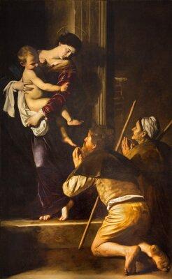 Obraz Rzym - Madonna z Loreto i pielgrzymi malować Caravaggia