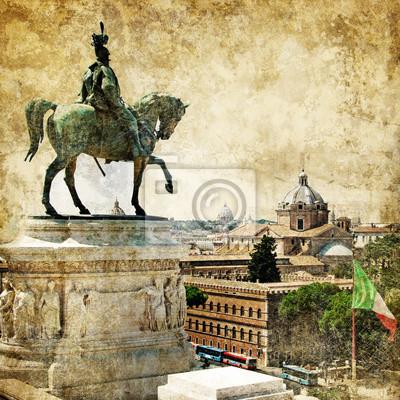 Rzym, Piazza Venezia, obraz w stylu retro