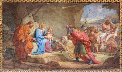 Obraz Rzym - Pokłon Trzech Króli fresku w Sant Agostino Bazylika