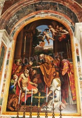 Obraz Rzym, Włochy - 28 marca 2012: Fragment mozaiki wewnątrz Renaissance San Pietro (Saint Peter) Bazylika w Watykanie, Rzym