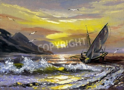 Obraz Sailing boat in waves on a decline