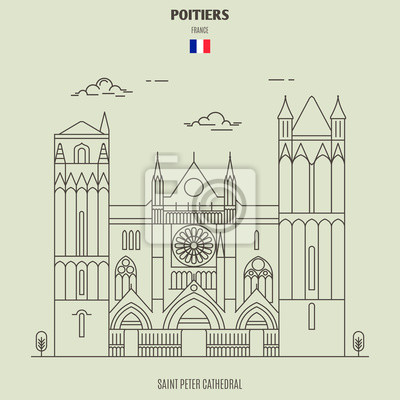 Saint Peter Cathedral in Poitiers, France. Landmark icon