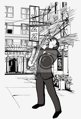 Obraz saksofonista na ulicy w nocy