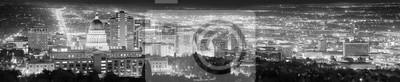 Salt Lake City czarno-biały obraz panoramiczny, USA.