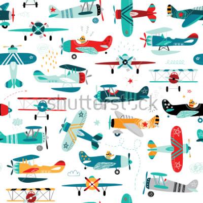 Obraz samoloty chłopięce wzór bez szwu