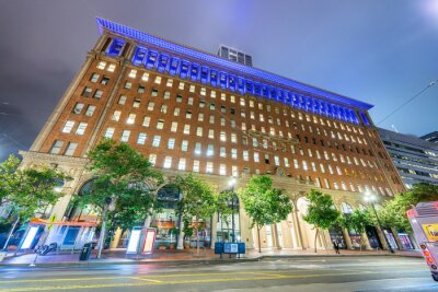 SAN FRANCISCO - AUGUST 5, 2017: Downtown city streets at night in summer season