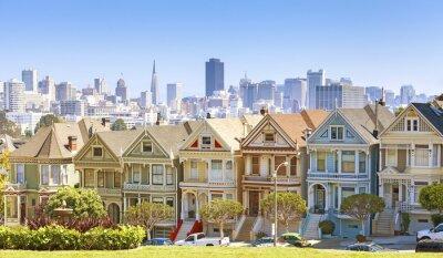 San Francisco Skyline z budynkami malowane dziewcząt.