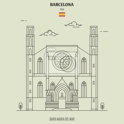 Santa Maria del Mar in Barcelona, Spain. Landmark icon