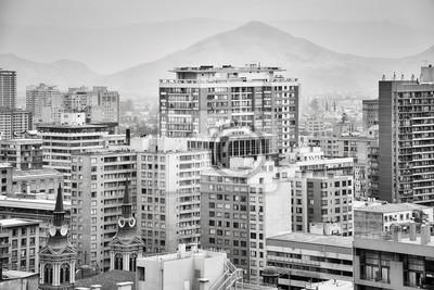 Santiago de Chile śródmieście zakrywający smogiem, Chile