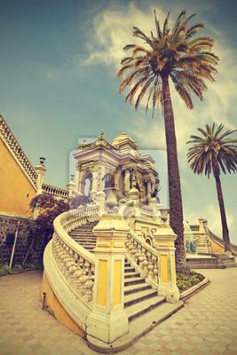 Santiago de Chile, stary budynek z palmy na tle niebieskiego nieba, vint