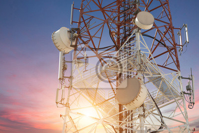Obraz Satellite dish telecom tower at sunset