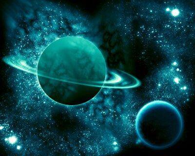 Obraz Saturn we wszechświecie i ziemia
