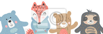 Scandinavian child design - bear, fox and lazy sloth on white background. Kids illustration for nursery poster, t-shirt, apparel, greeting card. Vector clipart. Best friends concept.