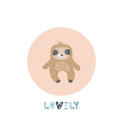 Scandinavian child design - Lazy sloth, cute sloth in pink circle on white background. Kids illustration for nursery poster, great for t-shirt, apparel, greeting card. Vector clipart.