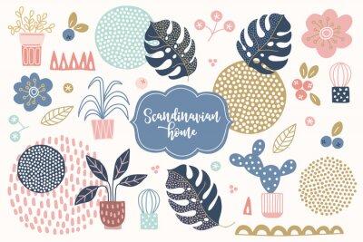 Obraz Scandinavian design elements - house plants, succulents, monstera leaf, berries, flowers