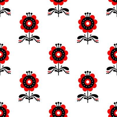 Obraz Scandinavian folk art seamless pattern.