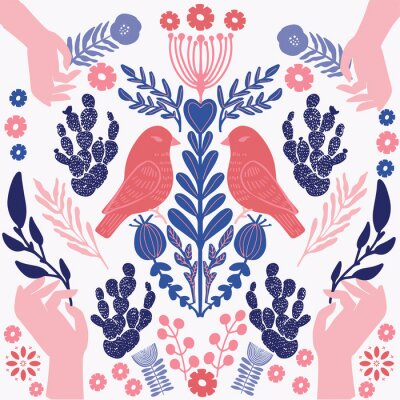 Obraz Scandinavian  pattern with birds and flowers