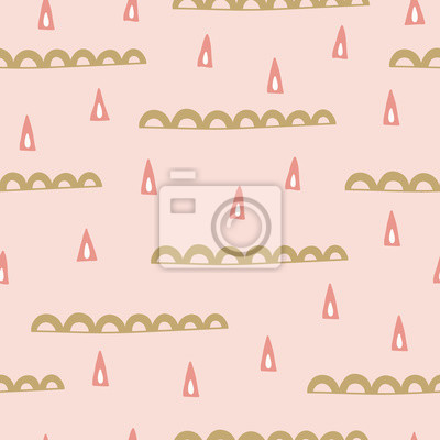 Scandinavian seamless pattern with abstract triangles and waves