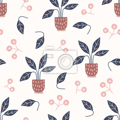Scandinavian seamless pattern with blossoms and home plant in pots