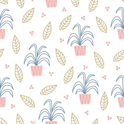 Scandinavian seamless pattern with leaves, home plants, dots