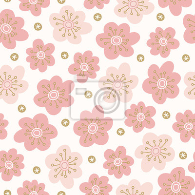 Scandinavian seamless pattern with pink flowers and blossoms