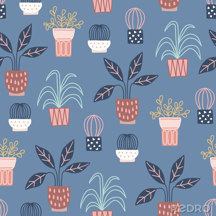 Obraz Scandinavian seamless pattern with succulents and home plants in pots