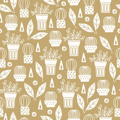 Scandinavian seamless pattern with succulents in pots, triangles, leaves