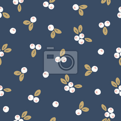 Scandinavian seamless pattern with white berries and gold leaves