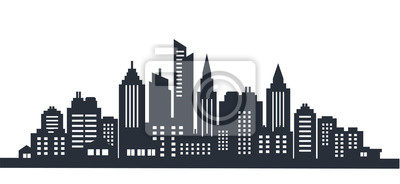 Obraz Scape krajobrazu miasta sylwetka. Krajobraz miasta. Śródmieście krajobraz z wysokimi drapaczami chmur. Panoramy architektury Rządowi budynki ilustracyjni. Miejskie życie