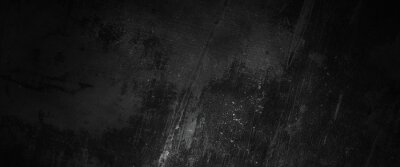Obraz Scary dark walls, slightly light black concrete cement texture for background