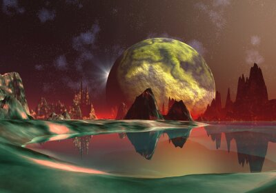 Obraz Scena Fantasy - Dragon Księżyc 01