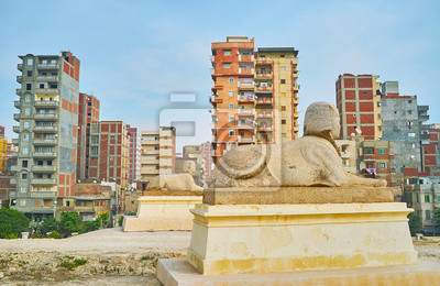 Scena miejska z sfinksami, Aleksandria, Egipt