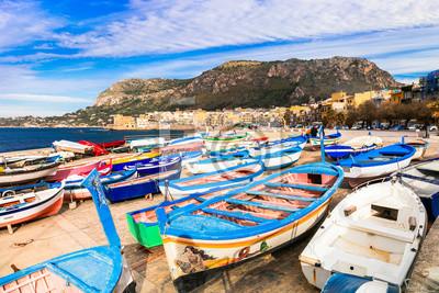 Scenery of Sicily. Traditional fishing village Aspra.  Italy
