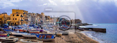 Scenery of Sicily. Traditional fishing village Aspra. Travel in Italy