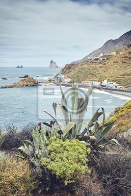 Scenic coastal area of Taganana, color toned picture, Tenerife, Spain.