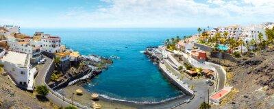 Scenic coastal panoramic view of Province of Santa Cruz, Tenerife, Spain.
