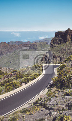Scenic mountain road, color toning applied, Tenerife, Spain.