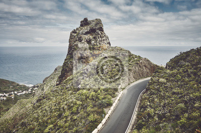 Scenic mountain road in Anaga Rural Park, color toned picture, Tenerife, Spain.