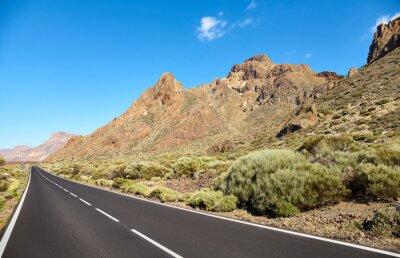 Scenic mountain road in Teide National Park, Tenerife, Spain