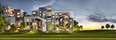 Obraz Scenic night view of modern architecture of residential buildings