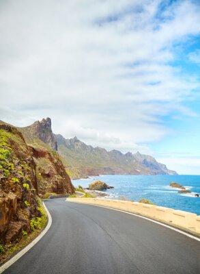Scenic ocean drive by cliffs of the Macizo de Anaga, Tenerife.