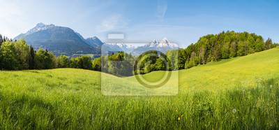 Obraz Scenic panoramic view of idyllic rolling hills landscape with blooming meadows and snowcapped alpine mountain peaks in the background on a beautiful sunny day with blue sky and clouds in springtime