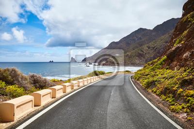 Scenic road at the Macizo de Anaga mountain range, Atlantic Ocean coast of Tenerife, Spain.
