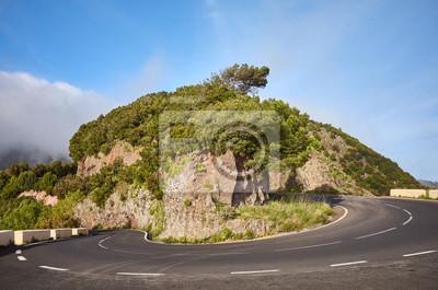 Scenic road bend in Anaga mountain range, Tenerife.