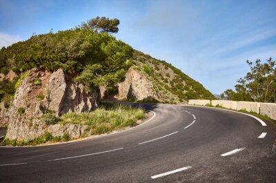Scenic road bend in Anaga mountain range, Tenerife, Spain.