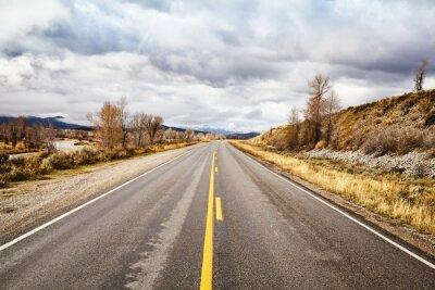 Scenic road in Grand Teton National Park, Wyoming, USA.