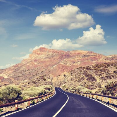 Scenic road in Teide National Park, color toning applied, Tenerife, Spain.