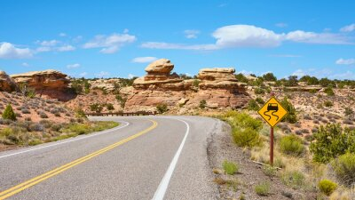 Scenic road on a sunny summer day, travel concept.